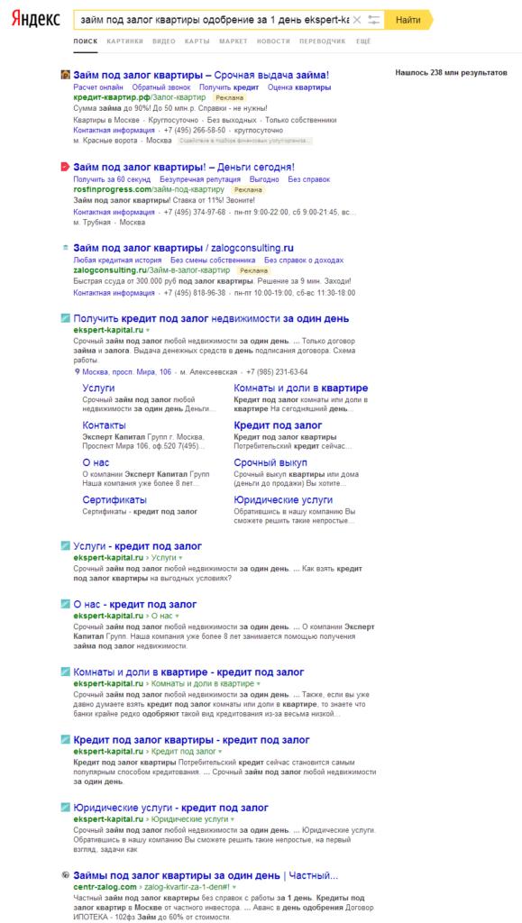 Результаты поиска по запросу с адресом сайта или названием компании